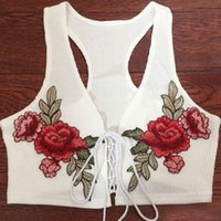 Wholesale Lace Up Vest Top - Casual Spring Summer Lace Up Embroidered Flowers Vest Fashion Women's Crop Tops Soft Acrylic Floral Beachwear