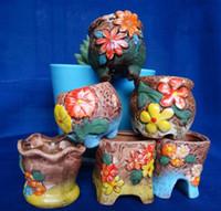 Wholesale Ceramic Flowering Pots - 11 styles Variable mini pocket thumb Vase succulent ceramic flowerpot flower POTS potted plants pot
