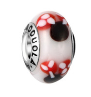 Wholesale Glass Murano Animals - Mixed 10Pcs 925 Sterling Silver Mickey Murano Lampwork Glass Charm Beads For Pandora European Jewelry Charms Bracelet DIY Woman 6 Colours