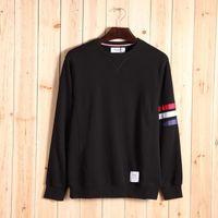 Wholesale Classic Men S Fashion - fashion thom tb Classic striped new men's 100% cotton pure color v-neck long sleeve browne hoodies Sweatshirts