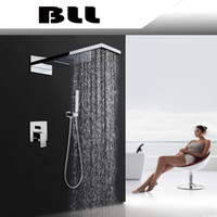 Wholesale Square Tap Shower Tub - Hi-Q In wall barhtoom Tub mixer faucet with wider waterfall raindance Tap and hand shower 8001A-1