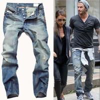 ingrosso marchi di cravatta famosi-High Quanlity 2017 uomini famosi marchio blu denim designer di alta qualità jeans strappati per gli uomini classici retrò David Beckham stesso paragrafo