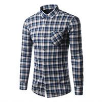 Wholesale Type Dress Collars - Wholesale- Fashion Mens Shirt Regular Type Hot Seller mens Clothes Plaid Pattern Casual Men's shirt Warmly Plus velvet thick shirt KMC3021