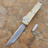 Wholesale Tools For Camping - microtech ut121 ultratech 121 tanto gold 440C blade double action Hunting Folding Pocket Knife with tool Xmas gift for men 1pcs