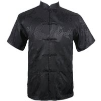 Wholesale New Kung Fu - Wholesale- New Black Chinese Men Summer Leisure Shirt High Quality Silk Rayon Kung Fu Tai Chi Shirts Plus Size M L XL XXL XXXL M061306