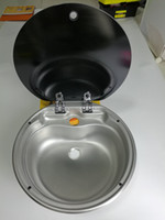 Wholesale Boat RV Caravan Camper Round Stainless Steel Hand Wash Basin Kitchen Sink with Toughened Glass Lid GR