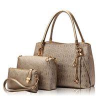 Wholesale design ladies bag totes handbag - Wholesale- New 2016 Women Handbags Leather Handbag Women Casual Travel Bags Ladies Brand Designs Bag Handbag+Messenger Bag+Purse 3 Sets