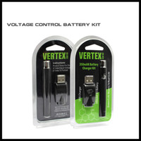 Wholesale Free Vertex - variable voltage bud touch vape pen battery 2.6-3.3-4.0V vertex 350mah battery kit blister oil cartridge preheat smoke dhl free shipping