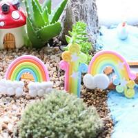 ingrosso piantando bambini in giardino-1 Pz Nuvole e Rainbow Miniature Garden Ornament Decorazione Camera per bambini Figurina Vaso per piante Fata casa delle bambole Mini giocattolo fai da te