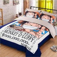 yatak odası yorgan örtüleri toptan satış-Toptan-Japon tek parça anime / FAIRY TAIL / Slam Dunk Pikachu Yatak Seti İkiz Kraliçe Kral Nevresim Bedlinens Cartoon Bedroom Set