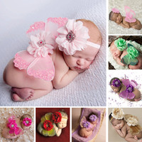 Wholesale Crochet Outfits For Boys - Lovely Newborn Baby Photography Props Infant Girls Flower Headband+Wing 2pcs Outfit Set Costume Prop Accessories For 0-6 Months