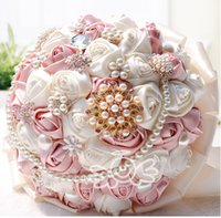 Wholesale Artificial Silk Flowers Suppliers - Handmade Artificial Satin Rose Crystal Beaded Bridal Bouquets Colorful Wedding Suppliers Bridesmaid Holding Flowers Handmade Manual Bouquet