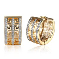 Wholesale Gold Plated Great Wall - 2017 K Gold Zircon Double Row Great Wall Pattern Diamond Diamond Champion Gold Earrings Women's Earrings