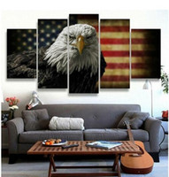Wholesale American Flag Art - 2017 Print American Eagles Usa Flag Painting on Canvas Art Modern Home Decor Abstract Painting for Living Room Wall Deco