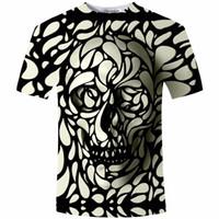 Wholesale t shirts skull men wholesale - Wholesale- New Design Skull Print Mens tshirt Fashion 3D T-Shirt Summer Short Sleeve Casual Breathable Tops Tee Plus Size 5XL T shirt Homme