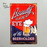 ingrosso contenitori pubblicitari d'epoca-DL-Beauty Eye Beer Titolare Funny Bar Bottle Drink Vintage Advertising Targa in metallo