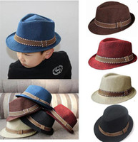 Wholesale kid girls trilby hat resale online - 2017 new fashion kids boy girl neutral Fedora hat contrast pruning cool jazz hat Trilby hat M057