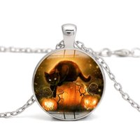 Wholesale Diy Handmade Lantern - Black Cat Pendant Halloween Necklace Pumpkin Lantern Dome Glass Cabochon Vintage DIY Handmade Jewelry Women Charm Gifts Wholesale