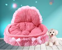 Wholesale Cat Houses Oval - Kimpets Stylish Washable Lace Pet Dog Cat Bed House Soft Washable Footprint Pet Dog Cat Bed House Warm Bed All Seasons