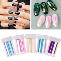 Wholesale Foil Nail Decal Stickers - Wholesale-5Pc Lot 2016 Fashion Punk Transfer Foil Sticker Broken Glass Nail Art DIY Nail Beauty Decoration Stencil Decal NA1079