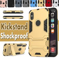 Wholesale Stand Man Iphone - 2 in 1 Kickstand Iron Man Hybrid Stand Holder Shockproof Rugged Hard Slim Armor Cover Case For iPhone X 8 7 plus Samsung S8 S7 edge Note 8