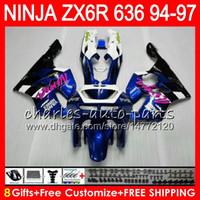 Wholesale 1997 Black Kawasaki Zx6r - 8Gifts 23Colors For KAWASAKI NINJA ZX6R 94 95 96 97 600CC ZX-6R 33NO75 ZX636 blue black ZX 636 ZX 6R ZX600 1994 1995 1996 1997 Fairing kit