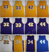 Wholesale Brown Jerry - 2017 Retro 32 Magic Johnson Basketball Jerseys 33 Kareem Abdul-Jabbar 42 Artest Worthy 44 Jerry West 34 Shaquille ONeal with player name