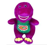 muñecas de amor de felpa al por mayor-Nueva venta HOT Barney The Dinosaur 28cm Sing I LOVE YOU canción Purple Plush Soft Toy Doll