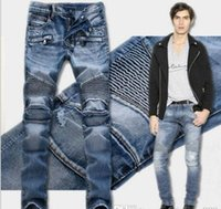Wholesale Classic Men S Jeans - 3 colour!Men's Distressed Ripped Jeans Famous Fashion Cool Designer Slim Motorcycle Biker Causal Denim Pants Runway Jeans