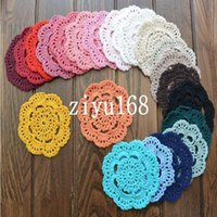 Wholesale Ecru Crochet Doily Mat - Free shipping wholesale hand made Lace Crochet cup mat, cotton Ecru Doily ,cup pad,placemat,crochet applique 12CM, 30Pcs Lot