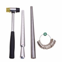 Wholesale Modelling Sticks - 4pcs Set Jewelry Tools Ring Enlarger Stick Mandrel Handle Hammers Ring Size Sticks Sizers Professional Model 25~28cm 1.1cm
