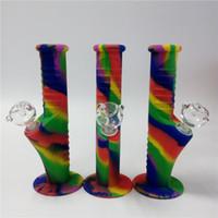 Wholesale Tens Set - Rainbow Free shipping Mini Silicone Water Bongs Ten Colors 14.4 mm Joint Glass sets Mini bongs Mini water pipes