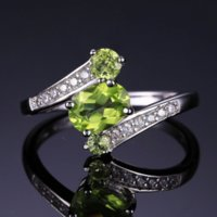 JewelryPalace 3 Stones Naturale Peridot naturale anello in pietra preziosa Solido 925 Argento Sterling Silver Hot Fabulous Charm