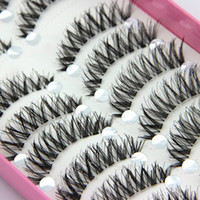 Wholesale Wholesale Eyelashes For Sale - Fashion 10 Pairs Natural Black Long Cross Thick False Eyelashes Party Eye Makeup Cosmetic Tools for lady women Big Sale