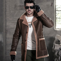 Wholesale pu leather garment - Hot Sale 2017 Winter Thick Leather Garment Men's Business Casual Leather Jacket Lapel Cashmere Lined High Quality Warm PU Coat