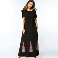 Wholesale Plus Size Womens Elegant Clothing - Abaya Turkish Black Embroidery A line long Maxi Dress Summer 2017 plus size X-long Dresses elegant womens tunics Islam Muslim clothes