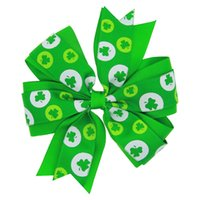 Wholesale Wholesale St Patricks Day - 4.5inch ribbon hairbow St Patricks Day Headband - Green flower Shamrock - Green Clover Headband - Irish Headband Boutique Baby Girls Shamroc
