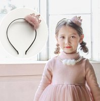 Wholesale Fashion Queen Hair - Children crown hair sticks fashion girls faux fur sequins crown queen princess hair accessories christmas party kids headwear R1518