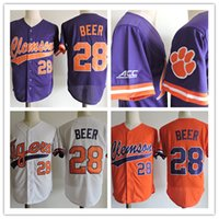 Wholesale Beer Baseball - Mens Clemson Tigers Seth Beer 2017 College World Series Baseball Jersey #7 Jack Leggett #14 Khalil Greene NCAA ACC Clemson Tigers Jersey S-3