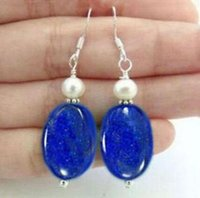 Wholesale Gemstone Pearl Dangle Earrings - Lapis Lazuli Gemstones White pearl Silver Hook Dangle earrings 2PC earring