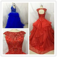 Wholesale Quinceanera Ladies Ball Gowns - 2017 Sequins Beads Sweet 15 Girls Quinceanera Dresses 2017 Luxury Crystal Custom Made Lady Party Evening Pageant Prom Dance Ball Gowns