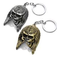 Wholesale alien vs predator mask - New Arrival 2 Colors AVP Alien VS Predator Mask High Quality Metal Pendant Keychain For Men Gift