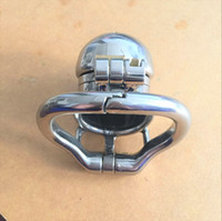 Wholesale newest chastity devices - Newest Double Lock Design Stainless Steel Chastity Belt Male Chastity Device Metal Penis Lock Chastity Cage Ring Sex Toys For Men