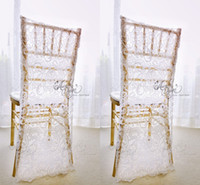 Wholesale Korean Groom - Charming White Lace Wedding Chair Covers Custom Made Groom and Bride Chiavari Chair Slipcover Wedding Accessories