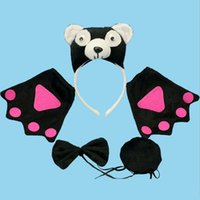 Wholesale Kids Panda Gloves - Animal Panda Baby Children Party Headbands Ears Tail Gloves Headband Hair Accessories Kids Hairbands for Girls Bow