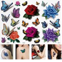 Wholesale Lips Tattoos Sticker Glitter - 3 Sheets Women's 3D Colorful Waterproof Body Lip Art Sleeve DIY Stickers Glitter Temporary Tattoos Mini Rose Flower Butterfly