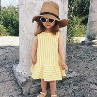meninas vestido listrado amarelo venda por atacado-Moda meninas roupas de bebê da criança menina vestidos de verão sem mangas amarelo listrado bebê vestido de algodão meninas roupas