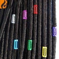 Wholesale Micro Clip Hair - hair cuffs 100 Pcs Lot #Golden #Silver Mixed colorfull crochet hair Dreadlock Beads Adjustable Hair Braids Cuff Clip Micro free Ring Beads