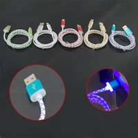 Wholesale Visible Usb Micro Data Cable - Visible Micro USB V8 Charging Cable LED Light up for Samsung Galaxy S7 S6 S4 Data sync dragon line Flashing 1M luminous Cords