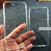 espalda de cristal de iphone al por mayor-Para el caso del iPhone 7 Transparente Clear Crystal Gel Ultra Thin Hybrid Soft TPU Frame PC duro de la contraportada Casos de teléfono para iphone 7 7 plus 249